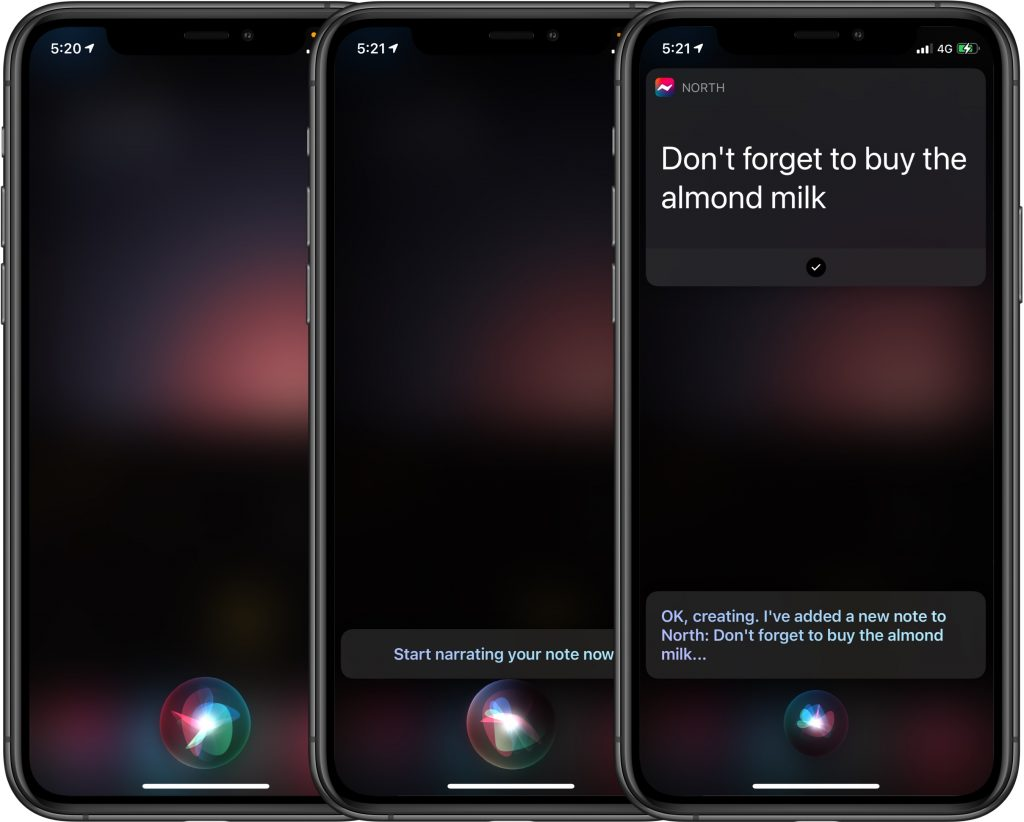 North Notes - How to create a note with Siri