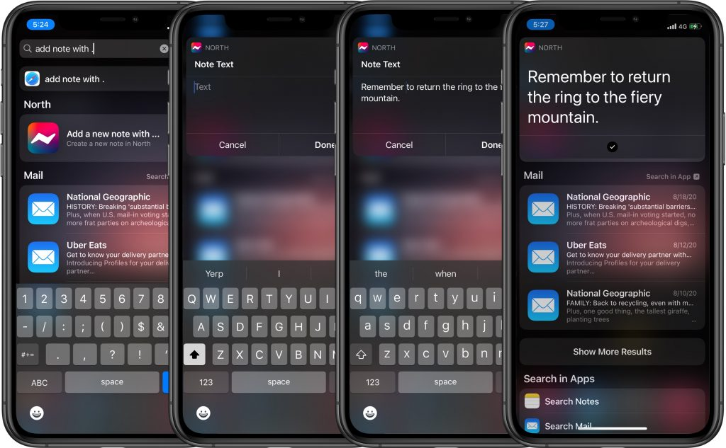 North Notes - How to create a note with Siri Suggestions